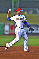 Tennessee Smokies shortstop Jeudy Valdez #12 warms up between innings during a game against the Mobile BayBears at Smokies Park on May 23, 2014 in Kodak, Tennessee. The BayBears defeated the Smokies 7-1. (Tony Farlow/Four Seam Images)