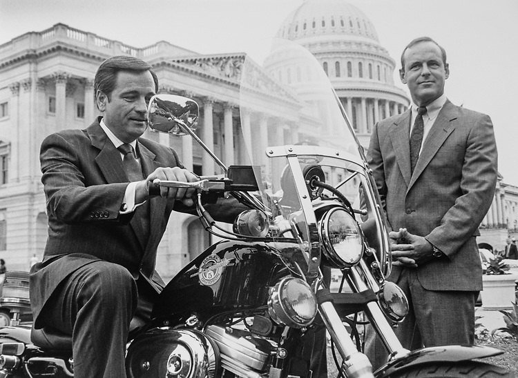 Rep. Jerry Kleczka, D-Wis., aboard a Harley, which US Capitol Hill police will test for 30 days as a 'Buy American' product. Sergeant-At-Arms Jack Russ looks on. (Photo by Maureen Keating/CQ Roll Call via Getty Images)