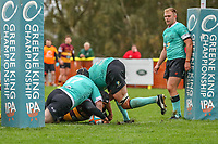 Ampthill Rugby score a try during the Greene King IPA Championship match between Ampthill RUFC and Nottingham Rugby on Ampthill Rugby's Championship Debut at Dillingham Park, Woburn St, Ampthill, Bedford MK45 2HX, United Kingdom on 12 October 2019. Photo by David Horn.