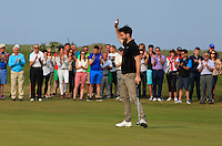 Gerard Dunne (Co. Louth) on the 18th green during Round 4 of the East of Ireland Amateur Open Championship sponsored by City North Hotel at Co. Louth Golf club in Baltray on Monday 6th June 2016.<br /> Photo by: Golffile   Thos Caffrey