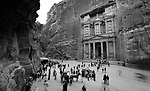 Tourists visit the Al-Khazneh, or the Treasury, one of the most famous monuments in the ancient cities of Petra, Jordan. The Treasury, with its Hellenistic exterior, was featured in the Hollywood classic, Indiana Jones and the Last Crusade as the precise location of the Holy Grail.