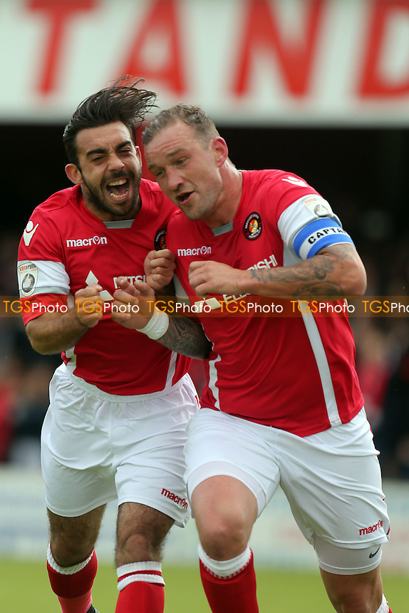 Danny Kedwell of Ebbsfleet United is congratulated after scoring the opening goal from the penalty spot during Ebbsfleet United vs Maidstone United , Vanarama National League South Play-Off Final Football at The PHB Stadium on 14th May 2016