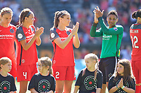 Portland, OR - Saturday August 05, 2017: Emily Menges, Katherine Reynolds, Adrianna Franch before a regular season National Women's Soccer League (NWSL) match between the Portland Thorns FC and the Houston Dash at Providence Park.