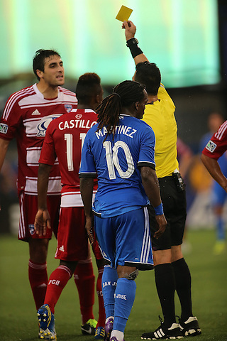 FRISCO, TX: George John in action against the San Jose Earthquakes at FC Dallas Stadium in Frisco, Texas on May 25,2013 (Photo Rick Yeatts)