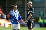 Motherwell v St Johnstone....28.04.12   SPL.Jody Morris complains to ref Bobby Madden after awarding a penalty to Motherwell.Picture by Graeme Hart..Copyright Perthshire Picture Agency.Tel: 01738 623350  Mobile: 07990 594431