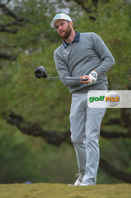 Chris Kirk (USA) watches his tee shot on 2 during Round 3 of the Valero Texas Open, AT&T Oaks Course, TPC San Antonio, San Antonio, Texas, USA. 4/21/2018.<br /> Picture: Golffile | Ken Murray<br /> <br /> <br /> All photo usage must carry mandatory copyright credit (© Golffile | Ken Murray)