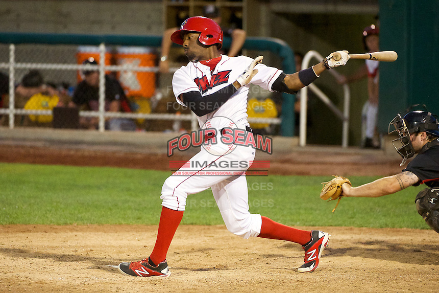 Quinten Davis (7) of the Orem Owlz at bat against the Billings Mustangs in Pioneer League action at Home of the OWLZ on August 15, 2014 in Orem , Utah.  (Stephen Smith/Four Seam Images)