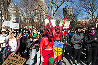NEW YORK, NEW YORK - MARCH 8: Two women painted red perform as a protest during thewomen's strike in Washington Sq Park for Women's Day on March 8, 2020. in New York. 3,500 women were killed for gender reasons in 25 countries in Latin America and the Caribbean in 2019. UN said. (Photo by Pablo Monsalve / VIEWpress via Getty Images)