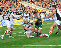 Leicester, England. Toby Flood of Leicester Tigers tackled just before the line during the Aviva Premiership match between Leicester Tigers and Harlequins at Welford Road on September 22, 2012 in Leicester, England.