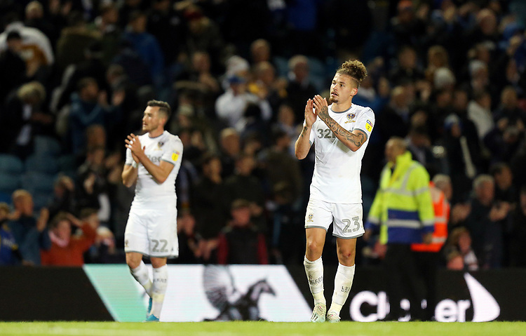 Leeds United's Kalvin Phillips (right) and Jack Harrison applaud the fans at the final whistle<br /> <br /> Photographer Rich Linley/CameraSport<br /> <br /> The EFL Sky Bet Championship - Tuesday 1st October 2019  - Leeds United v West Bromwich Albion - Elland Road - Leeds<br /> <br /> World Copyright © 2019 CameraSport. All rights reserved. 43 Linden Ave. Countesthorpe. Leicester. England. LE8 5PG - Tel: +44 (0) 116 277 4147 - admin@camerasport.com - www.camerasport.com