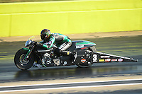 Sept. 21, 2012; Ennis, TX, USA: NHRA pro stock motorcycle rider Andrew Hines during qualifying for the Fall Nationals at the Texas Motorplex. Mandatory Credit: Mark J. Rebilas-