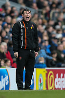 Blackpool's manager Gary Bowyer bellows instructions to his side<br /> <br /> Photographer Andrew Kearns/CameraSport<br /> <br /> The EFL Sky Bet League One - Blackburn Rovers v Blackpool - Saturday 10th March 2018 - Ewood Park - Blackburn<br /> <br /> World Copyright &copy; 2018 CameraSport. All rights reserved. 43 Linden Ave. Countesthorpe. Leicester. England. LE8 5PG - Tel: +44 (0) 116 277 4147 - admin@camerasport.com - www.camerasport.com