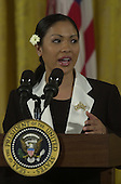 Miss America, Angela Perez Barasquio, speaks  at a reception celebrating the 50th Anniversary of the National Day of Prayer in the East Room at the White House in Washington, D.C. on May 3, 2001..Credit: Ron Sachs / CNP