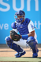 Keibert Ruiz (10) of the Rancho Cucamonga Quakes catches in the bullpen before a game against the Stockton Ports at Loan Mart Field on July 16, 2017 in Rancho Cucamonga, California. Rancho Cucamonga defeated Stockton 9-1. (Larry Goren/Four Seam Images)