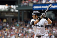 July 23, 2008: Seattle Mariners' Ichiro Suzuki at-bat during a game against the Boston Red Sox at Safeco Field in Seattle, Washington.