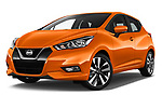 Stock pictures of low aggressive front three quarter view of 2017 Nissan Micra Tekna 5 Door Hatchback Low Aggressive