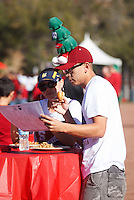 STANFORD,CA-- November 23, 2013: Fans look over the rooster at Fan Fest before the Stanford vs Cal game Saturday afternoon at Stanford Stadium.<br /> <br /> Stanford won 63-13.