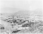 Elevated early view of Durango from west.  Mostly city with little railroad interest.  Good view of coke ovens.<br /> D&amp;RGW  Durango, CO