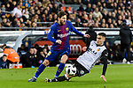 Andreas Pereira of Valencia CF (R) trips up with Lionel Messi of FC Barcelona (L) during the Copa Del Rey 2017-18 match between FC Barcelona and Valencia CF at Camp Nou Stadium on 01 February 2018 in Barcelona, Spain. Photo by Vicens Gimenez / Power Sport Images