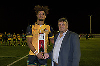 Guy Armitage of Ealing Trailfinders receives the Man of the Match award after the Greene King IPA Championship match between Ealing Trailfinders and London Irish Rugby Football Club  at Castle Bar, West Ealing, England  on 1 September 2018. Photo by David Horn.
