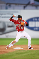 Batavia Muckdogs second baseman Rony Cabrera (26) throws to first during a game against the Brooklyn Cyclones on July 4, 2016 at Dwyer Stadium in Batavia, New York.  Brooklyn defeated Batavia 5-1.  (Mike Janes/Four Seam Images)