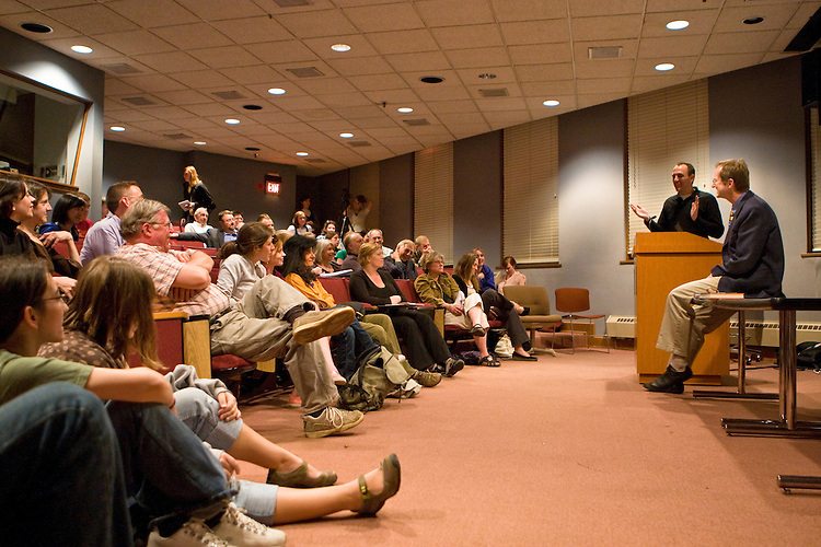 """Jeff Goodell, (second from right) investigative journalist and author of """"Big Coal,"""" gives a lecture on the perils of coal as an energy source on Wednesday, April 16, 2008 in Ohio University's Scripps Auditorium. Photo by Diego James Robles"""
