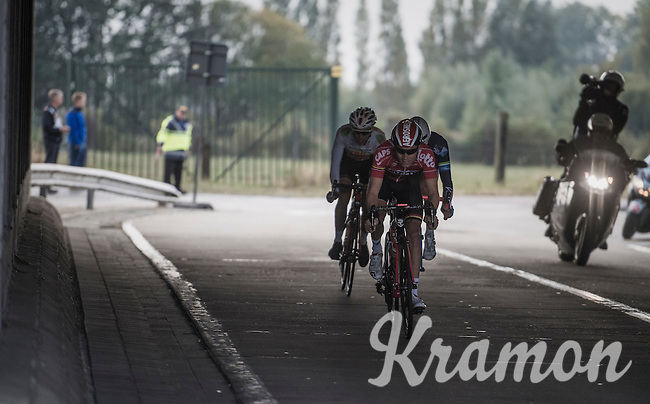Tosh Van der Sande (BEL/Lotto-Soudal) leading the last breakaway under the bridge<br /> <br /> 83rd Nationale Sluitingsprijs Putte-Kapellen 2016 (UCI Europe Tour cat 1.1 / 189km)