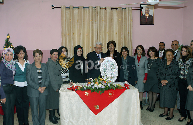 Palestinian President Mahmoud Abbas during a visit to Basma Centre for rehabilitation of disabled persons, in Beit Sahour town east of Bethlehem on Jan. 7, 2011. Photo by Thaer Ganaim