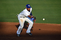 Dunedin Blue Jays shortstop Dawel Lugo (31) flips the ball to second during a game against the Bradenton Marauders on April 14, 2015 at Florida Auto Exchange Stadium in Dunedin, Florida.  Bradenton defeated Dunedin 7-1.  (Mike Janes/Four Seam Images)