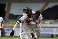 Pictured: Jason Scotland of Swansea (L) celebrating his second goal with team mate Ashley WIlliams (R).<br />
