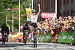 Polka Dot Jersey Warren Barguil (FRA) Team Sunweb wins Stage 13 of the 104th edition of the Tour de France 2017, running 101km from Saint-Girons to Foix, France. 14th July 2017.<br /> Picture: ASO/Pauline Ballet | Cyclefile<br /> <br /> <br /> All photos usage must carry mandatory copyright credit (&copy; Cyclefile | ASO/Pauline Ballet)