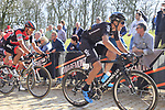 The peloton led by Gianni Moscon (ITA) Team Sky and Greg Van Avermaet (BEL) BMC Racing tackle the famous cobbled climb of Kemmelberg during Gent-Wevelgem in Flanders Fields 2017 running 249km from Denieze to Wevelgem, Flanders, Belgium. 26th March 2017.<br /> Picture: Eoin Clarke | Cyclefile<br /> <br /> <br /> All photos usage must carry mandatory copyright credit (&copy; Cyclefile | Eoin Clarke)