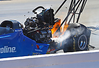 May 7, 2017; Commerce, GA, USA; NHRA top fuel driver Bob Vandergrift explodes an engine on fire during the Southern Nationals at Atlanta Dragway. Mandatory Credit: Mark J. Rebilas-USA TODAY Sports
