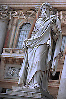 Statue of St. Paul's, St Peter's Basilica at the Vatican,Pope Benedict XVI during his weekly general audience in St. Peter square at the Vatican, Wednesday.May 30, 2007.