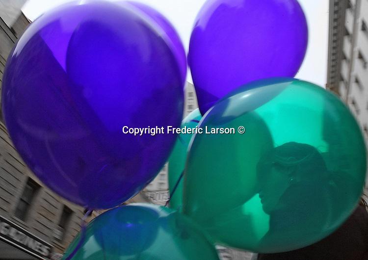 A group of balloons seen downtown San Francisco, California.