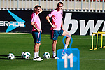 Atletico de Madrid's Antoine Griezmann (l) and Diego Godin during training session. September 26,2017.(ALTERPHOTOS/Acero)