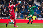 Leganes Nereo Champagne and Unai Bustinza celebrating the victory during King's Cup match between Real Madrid and Leganes at Santiago Bernabeu Stadium in Madrid, Spain. January 24, 2018. (ALTERPHOTOS/Borja B.Hojas)