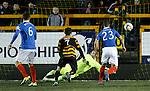 Steve Simonsen parries the free kick fromn Greig Spence