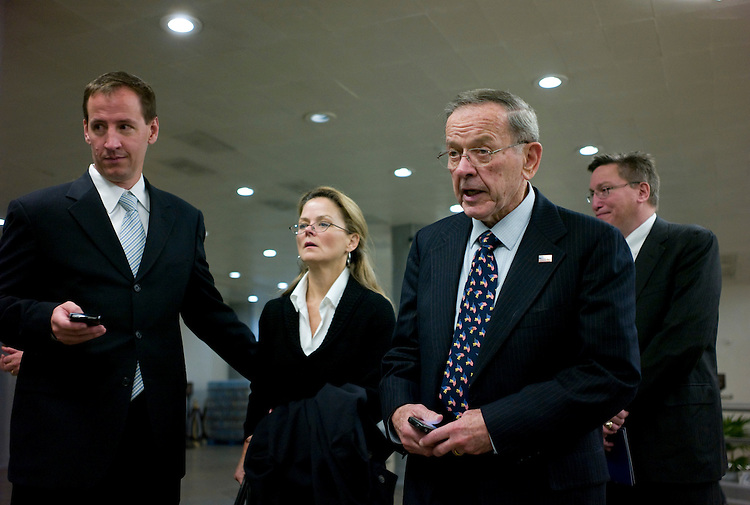 "WASHINGTON, DC - Nov. 20: Sen. Ted Stevens, R-Alaska, with aides, boards the Senate subway after saying farewell to the Senate. The felony conviction that was Stevens' undoing was barely a footnote Thursday when his colleagues on both sides of the aisle bade an emotional farewell to the longest-serving Republican senator in U.S. history. A hush fell upon the crowded chamber when the 85-year-old Alaskan rose to address the Senate for a final time. ""I have two homes: One is right here in this chamber, and the other is my beloved state of Alaska. I must leave one to return to the other,"" Stevens said in a 10-minute speech. Roughly two dozen Republicans and a handful of Democrats were on hand, including Daniel K. Inouye-D-Hawaii, Stevens' best friend in the Senate, and Majority Leader Harry Reid of Nevada. On Wednesday, Stevens conceded to his Democratic challenger, Anchorage Mayor Mark Begich.  (Photo by Scott J. Ferrell/Congressional Quarterly)"