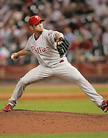 Philadelphia Phillies pitcher Brad Lidge on Thursday May 22nd at Minute Maid Park in Houston, Texas. Photo by Andrew Woolley / Four Seam Images..