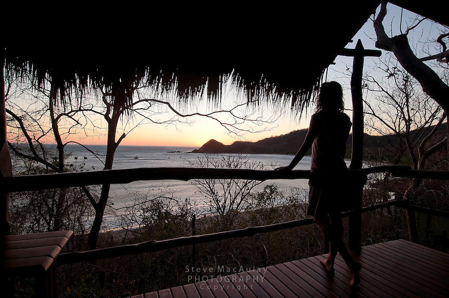 Sunset views from oceanfront deck of bungalow, Morgan's Rock Hacienda and Eco Lodge, Nicaragua