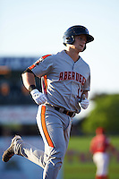 Aberdeen Ironbirds designated hitter Chris Shaw (17) runs the bases after hitting a home run during a game against the Batavia Muckdogs on July 14, 2016 at Dwyer Stadium in Batavia, New York.  Aberdeen defeated Batavia 8-2. (Mike Janes/Four Seam Images)