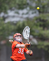Newton, Massachusetts - April 14, 2018: NCAA Division I. Boston College (white) defeated Virginia Tech (orange), 9-7, at Newton Campus Lacrosse Field.