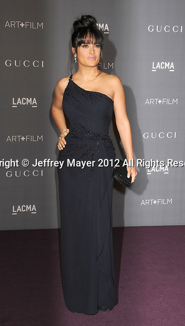 LOS ANGELES, CA - OCTOBER 27: Salma Hayek arrives at LACMA Art + Film Gala at LACMA on October 27, 2012 in Los Angeles, California.