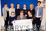 Students from Presentation Secondary School, Tralee, who presented a cheque to Cuan Mhuire, on Friday morning last, as they held a non uniform day and staff charity lunch at the school, l-r: Niamh Furlong, Sr Brid Clifford and Aoife Doyle. Back l-r: Sheila O'Connell, Bernie O'Connor, Rachel McCarthy, Jennifer Nolan, Chrissie Kelly and Norma Foley.