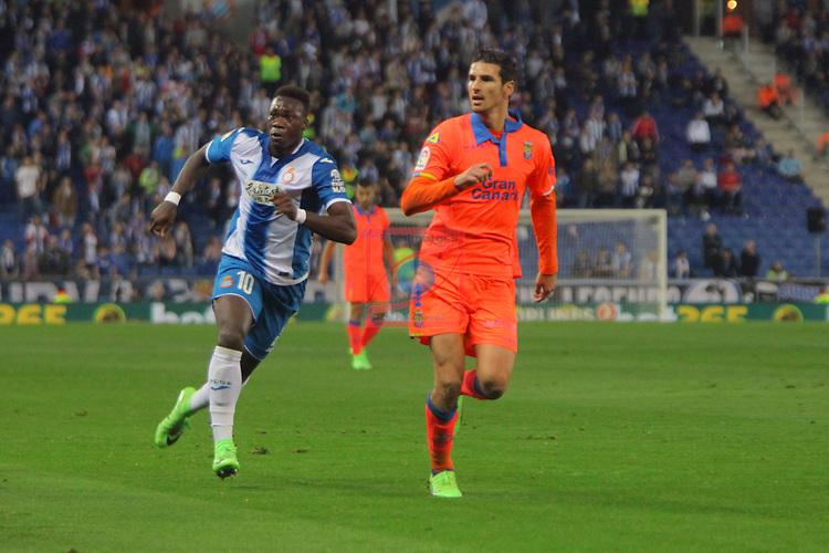 League Santander 2016/2017. Game: 27.<br /> RCD Espanyol vs UD Las Palmas: 4-3.<br /> Felipe Caicedo vs Vicente Gomez.