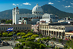 Plaza Libertad and the San Salvador Cathedral in San Salvador, El Salvador.  The San Salvador Volcano is behind the cathedral and consists of El Boqueron crater and the iconic El Picacho peak.
