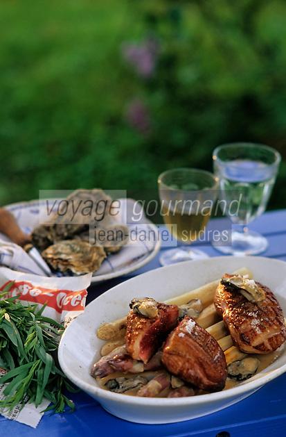 """Europe/France/Pays de la Loire/44/Loire-Atlantique/Parc Naturel Régional de Brière/Herbignac: Magret de canard des marais aux huitres et asperges - Recette de Marc Lambert de l'auberge de """"l'Eau de Mer """""""