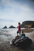 Emily Forsha and family, husband Brace, and sons Eli and Issac enjoying a day at Heceta Head beach, near Florence and Yachats on the Oregon Coast