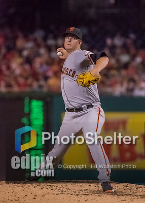 6 August 2016: San Francisco Giants starting pitcher Matt Cain on the mound against the Washington Nationals at Nationals Park in Washington, DC. The Giants defeated the Nationals 7-1 to even their series at one game apiece. Mandatory Credit: Ed Wolfstein Photo *** RAW (NEF) Image File Available ***